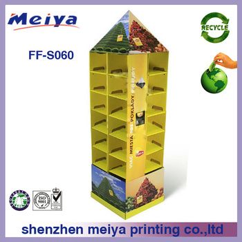 Supermarket cardboard poster display stand,food cardboard advertising display stands,pop up cardboard display stand supplier