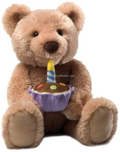 Birthday Teddy Bear Animated Plush Toys with a Cake