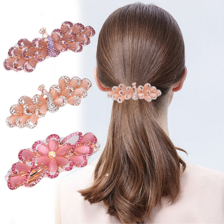 Luxury Crystal <strong>Hair</strong> Clip Opal Flower Headwear Jewelry OL For Women Girls <strong>Hair</strong> <strong>Accessories</strong>