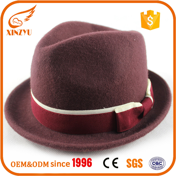 High quality mens dress felt top hats fancy wine men fedora hat with bow