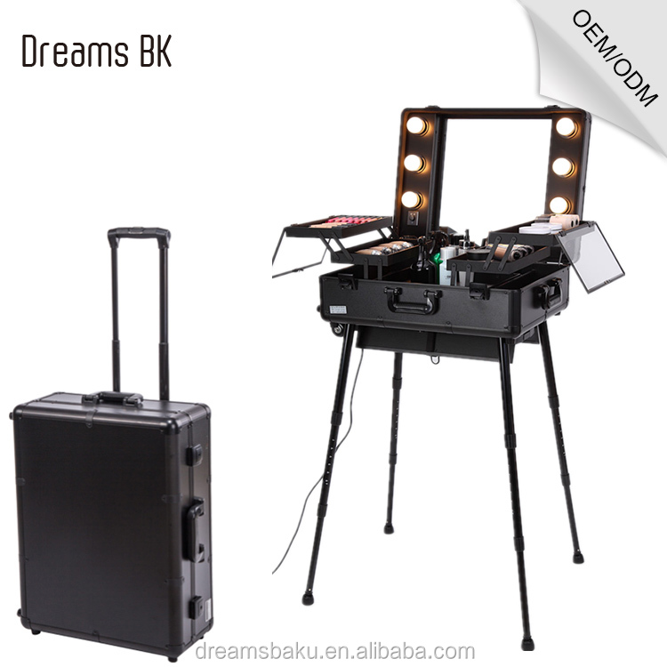 2016 Top sale black professional aluminum makeup trolley case with lights portable makeup station portable makeup station