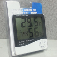 LCD Digital Temperature Humidity Meter Thermometer with Clock + Calendar HTC-1