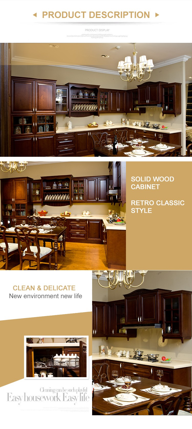 2017 New Design China Solid Wood Kitchen Cabinet