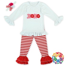 Wholesale Baby Girls Applique White Shirts And Stripe Ruffle Pants Valentines Ruffle Outfits