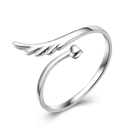Wholesale bulk in stock 1.04 gram angel wing shaped cheap wedding silver ring