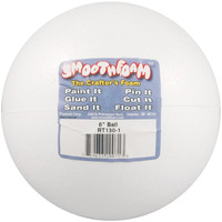 Smoothfoam Balls Crafts Foam for Modeling, 6-Inch, White
