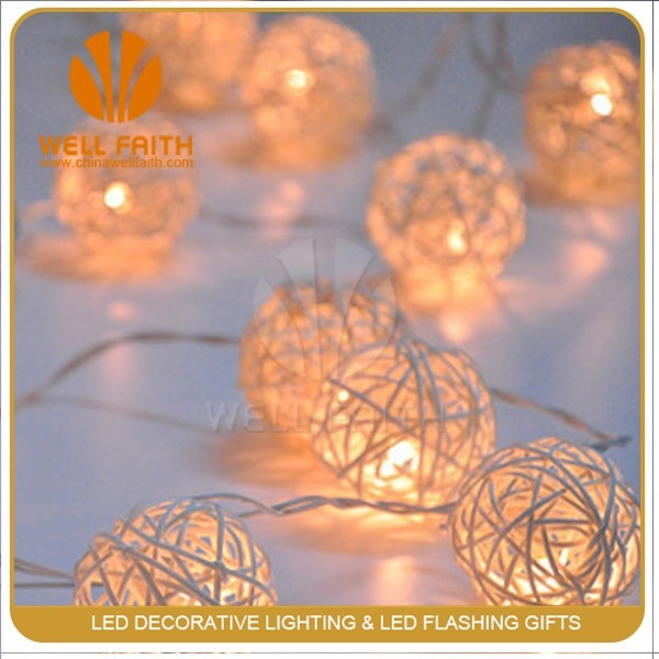 New Multi Color Rattan Balls Red Battery Powered Round shape Rattan Ball LED Christmas String Lights