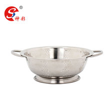 Stainless steel micro-perforated strainer vegetable basket fruit colander/bowl with handle
