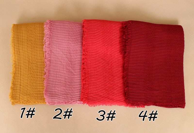 Hot Sale Plain Wrinkle Hijab Soft Cotton Scarf Oversized Long Shawls Wraps Head Scarves Muslim Pashmina