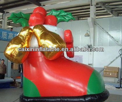 inflatable shoes with christmas bell/ inflatable christmas decoration/ inflatable christmas bell
