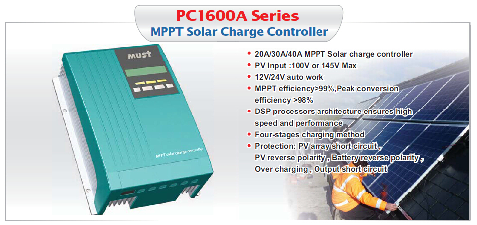< Must Solar> HOT! CE ISO approved 20A 12V/24V LCD/LED high efficiency MPPT solar charge controller three colors for choice