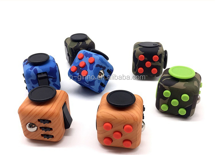 High quality 6 Sides Camo Fidget Cube Toy Anti Stress Cube Fidget