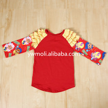 high quality new born baby 100%cotton red color children t-shirt cheap china wholesale kids clothes