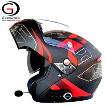 Motorcycle Smart Helmet Intercom Wireless Bluetooth Flip Up Helmet With Double Visors