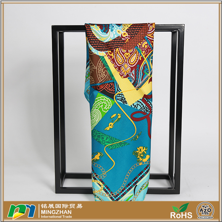 100% pure digital print custom design silk scarf women's fashion square headscarf