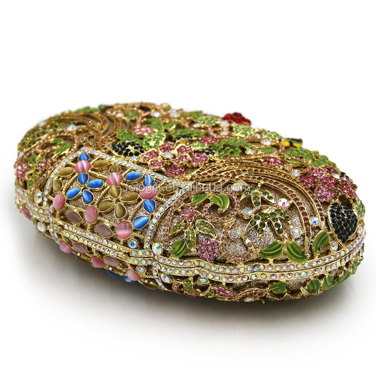 Oval ladies multicolor flowers Crystal evening clutch bags with gem stones