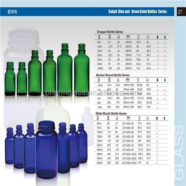 Hot selling Boston round bottle clear amber blue and green