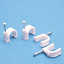 Hign Tensile Strength Cable Clip 10mm Round White Single Nail Plastic Clamp Wire holder Organizer 500 Pcs Pack