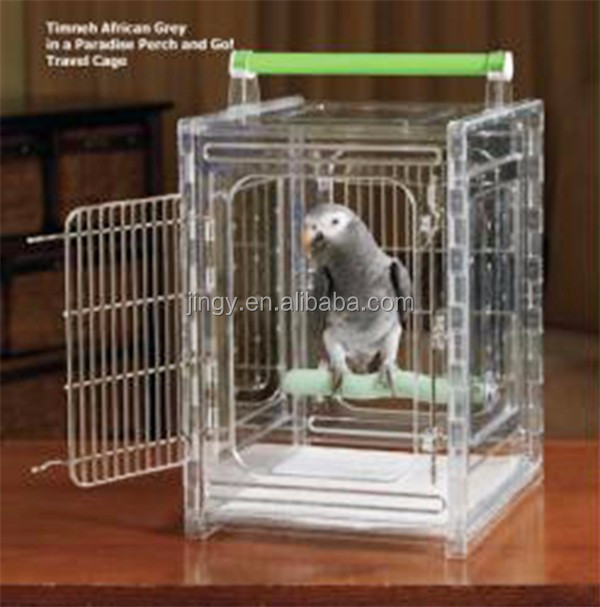 oblong acrylic small bird cage wire mesh with wood lift