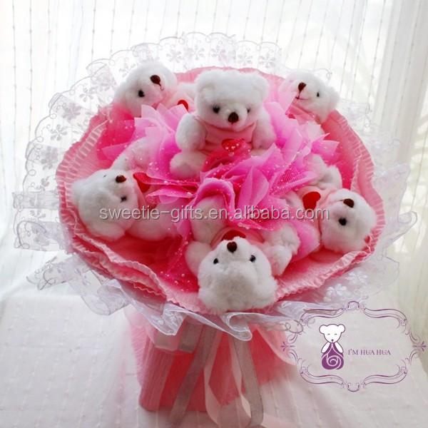 En gros pas cher en peluche ours en peluche bouquet pour for Bouquet st valentin pas cher