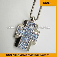 Jewel Crystal Cross Necklace real 2gb 4gb 8gb 16gb 32gb usb flash drives usb stick pen drive usb key