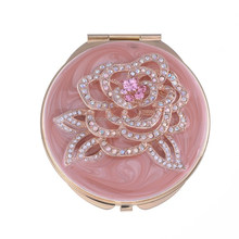 2015 Lovely Fashion Pocket Mirror| Bling Crystal Fashion Hand Mirror| Pink Color Cosmetic Mirror