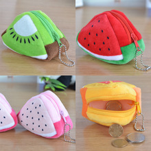 Unique fancy cheap unusual flannel fruit shaped coin purse