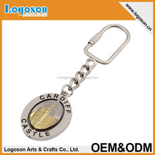 2015 Promotion Rotated Round Shaped Metal Alloy Keychain with snap hook