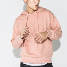 China factory custom drop shoulder french terry pink hoodie men