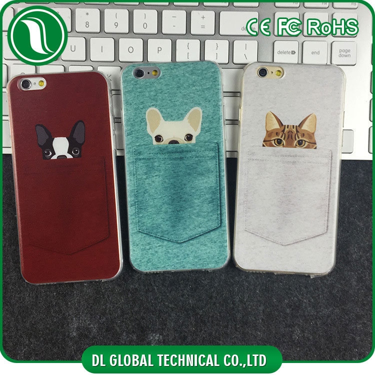 2D sublimation heat printing case pocket cat pocket dog mobile phone cover for iphone 6 case