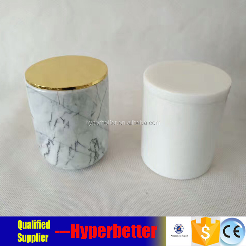 Natural marble candle jars