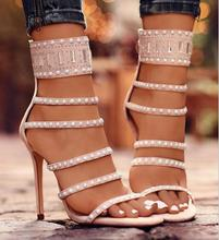 K3509A New Look Summer Hollow Out Sandals Shoes Sex High Heel Sandals With Beads 2018