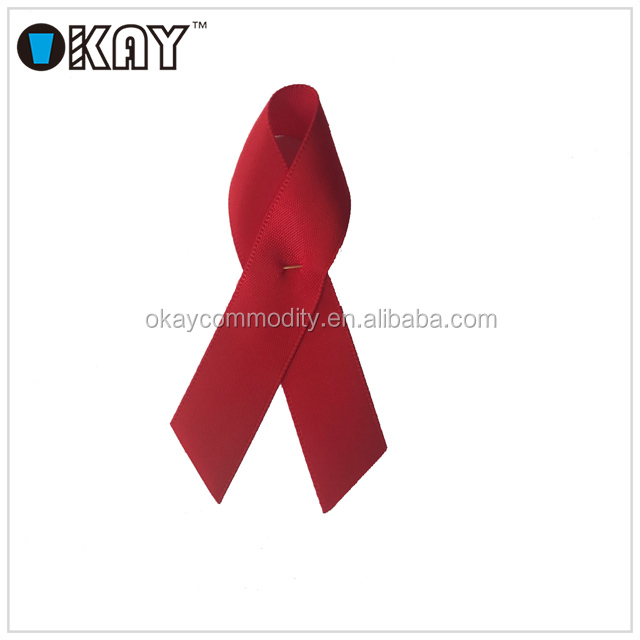 Aids Double Face Cancer Breast Cancer Satin Ribbon With Pin