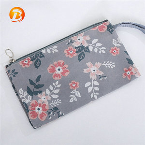 Custom luxury portable floral pattern durable lady makeup pouch