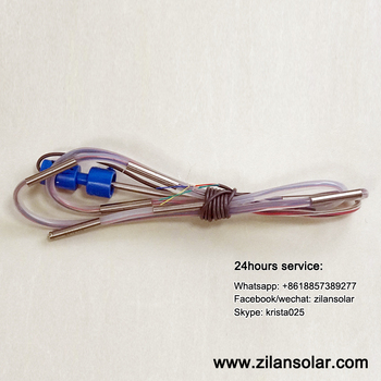 Temperature and water level sensor for solar water heating project tank