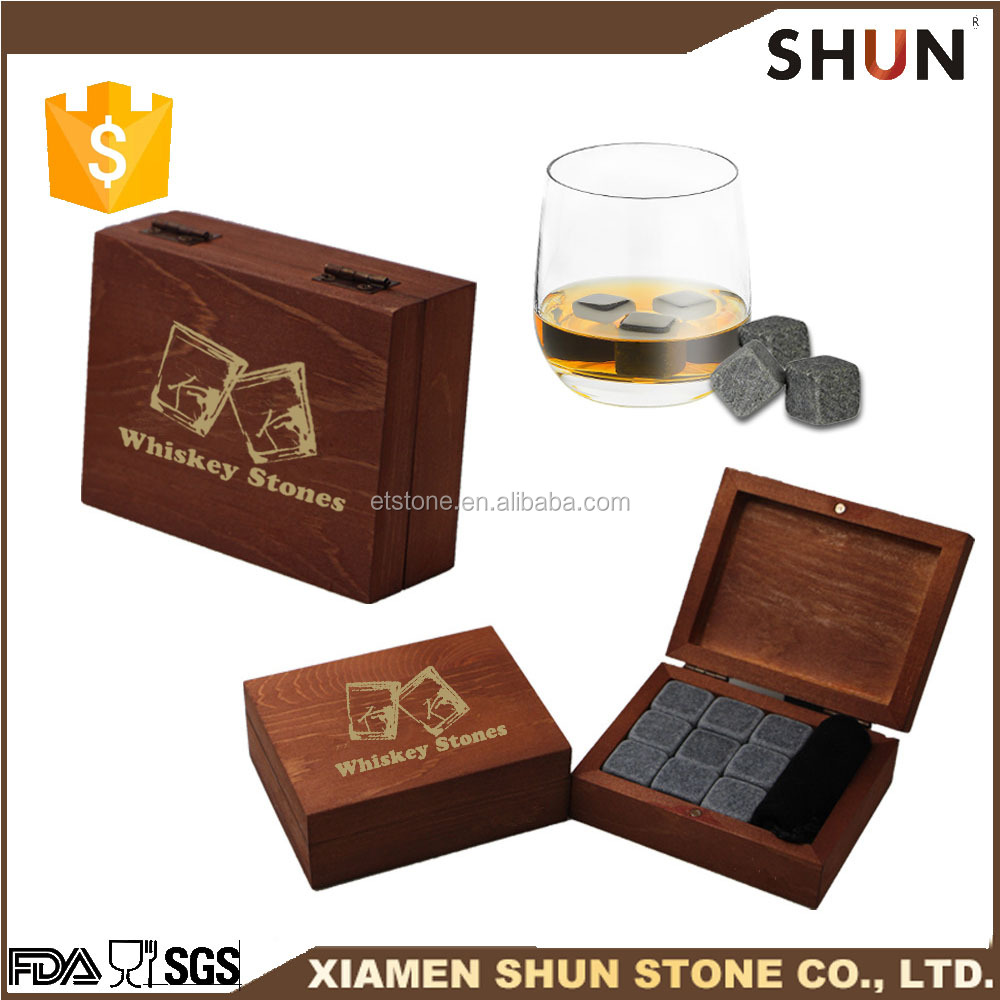 Best Whiskey Stones Gift Set - Set of 9/ Artisanal Hand Cut Whisky Chilling Rocks /Whiskey stone in Scotch Rocks Gift Box