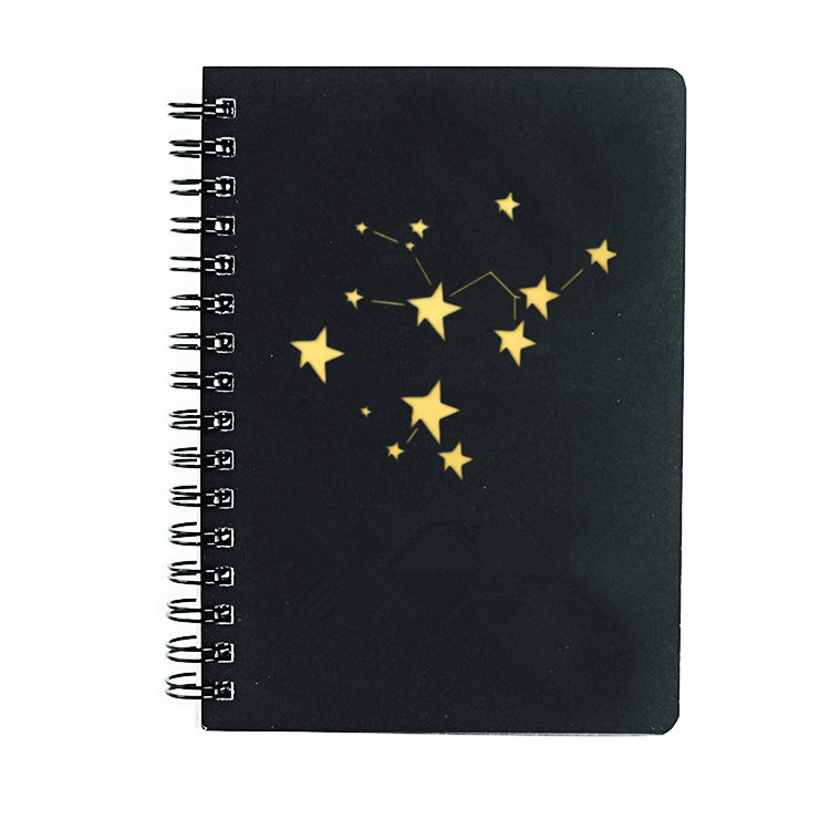 Custom High Quality Hardcover A5 Spiral Bound Black Notebook With Gold Foil Logo