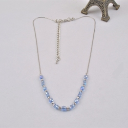 N13756-01 Strand Design Blue Faceted Crystal & Brass Beads Chain Necklace