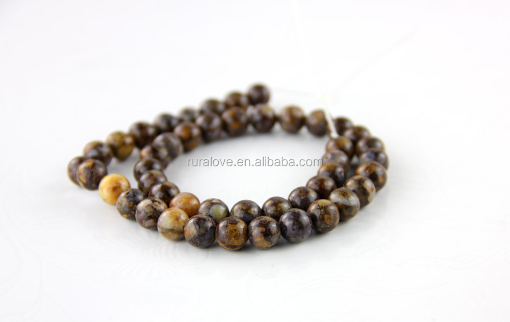 High quality round natural brown opal beads, never fade in color