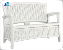 Garden white all weather bench chair with storage