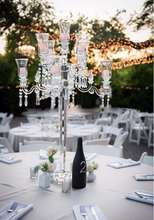 wholesale crystal 9 heads candelabra/ glass candle holder center pieces wedding decorations