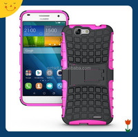 2015 China Wholesale hybrid dual layer tough rugged protective defender case cover with stand for Huawei Ascend G7