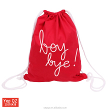 Summer sprots products recycled red fabric cotton bag drawstring back bag