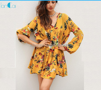 2017 hot sell vintage flower print lace summer boho dress women long lantern sleeve loose short dress women