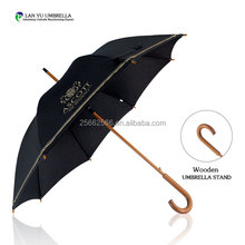 190T Pongee fabric metal frame golf outdoor wooden parasol sky printing umbrella