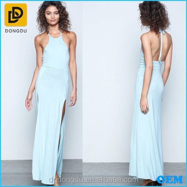 New Design Fashion High Scoop Neckline Knit Maxi Dress