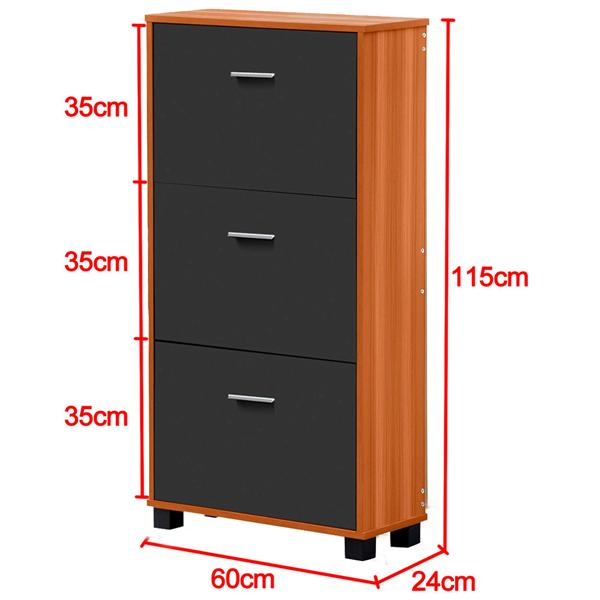 Shoe Cabinet Storage Rack Cupboard 3 compartments Unit Range Stand MDF