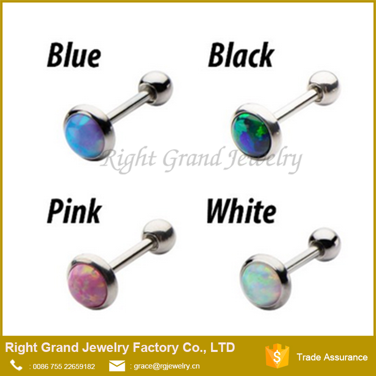Wholesale Stainless Steel Press Fit Opal Ear Cartilage Helix Tragus Earrings Studs