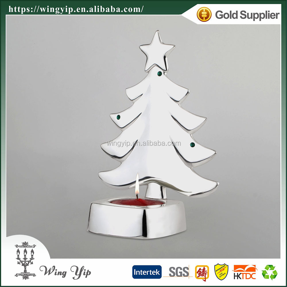 Wholesales Custom made Christmas Tree Tealight Candle Silver Christmax hanging for gift
