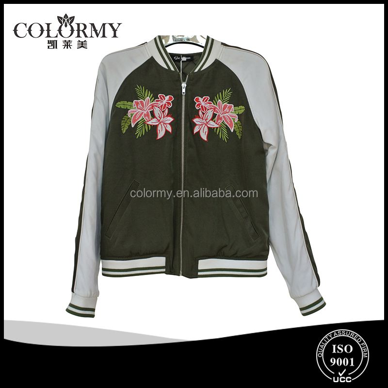 ladies new style high quality baseball uniform with appliques women's coats